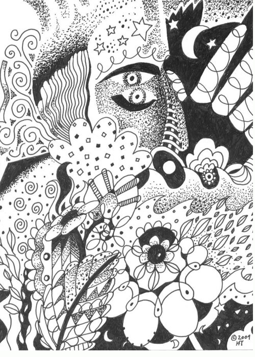 Awakening Greeting Card featuring the drawing Portals by Helena Tiainen