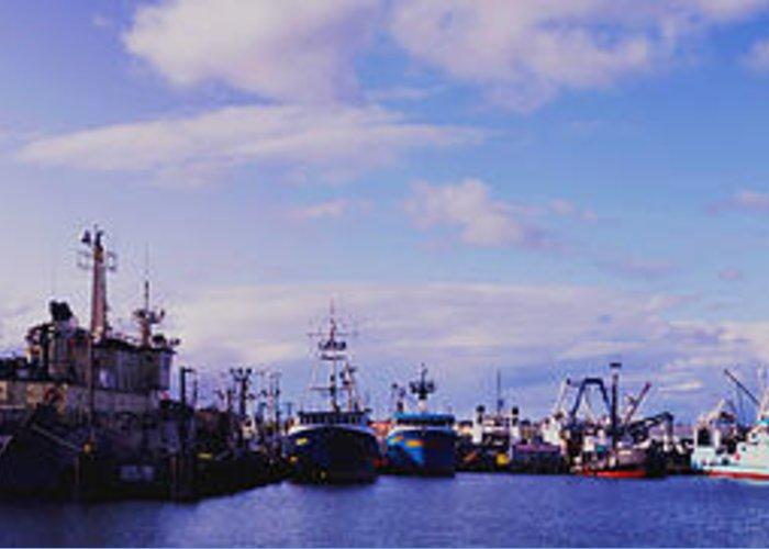 Panoramic Greeting Card featuring the photograph Portland Harbor Panaramic by Gary Clem