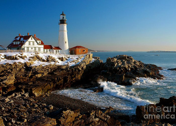 Coastline Greeting Card featuring the photograph Portland Head Light - Lighthouse Seascape Landscape Rocky Coast Maine by Jon Holiday