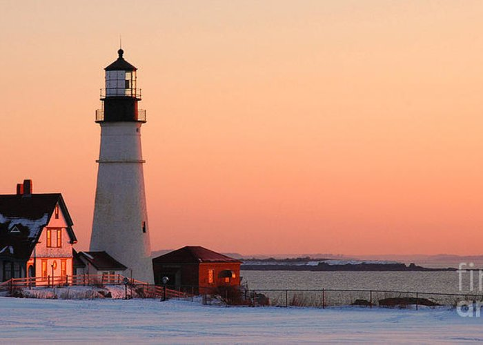 Coastline Greeting Card featuring the photograph Portland Head Light At Dawn - Lighthouse Seascape Landscape Rocky Coast Maine by Jon Holiday