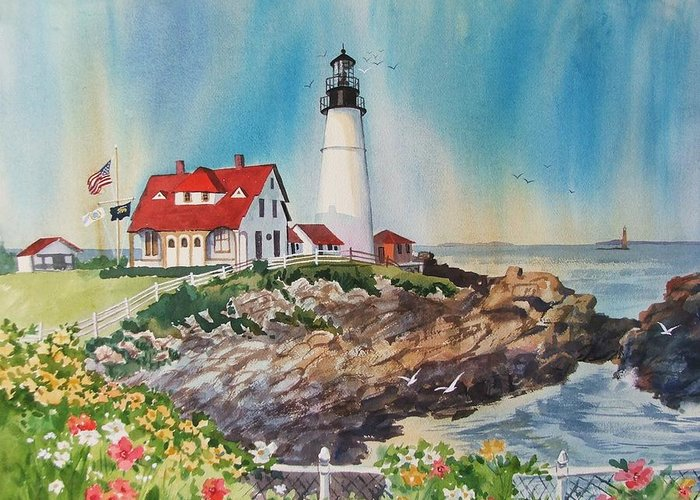 Portland Me Lighthouse Greeting Card featuring the painting Portland Head Light by Dianna Willman