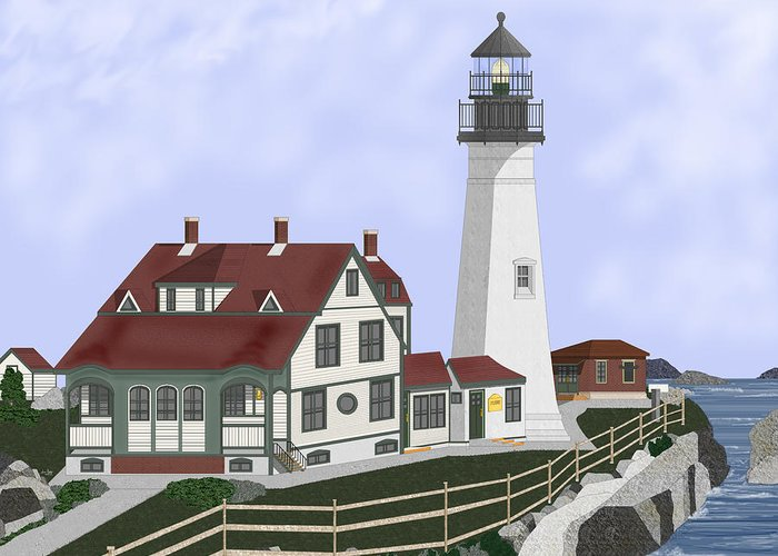 Portland Head Lighthouse Greeting Card featuring the painting Portland Head Maine on Cape Elizabeth by Anne Norskog