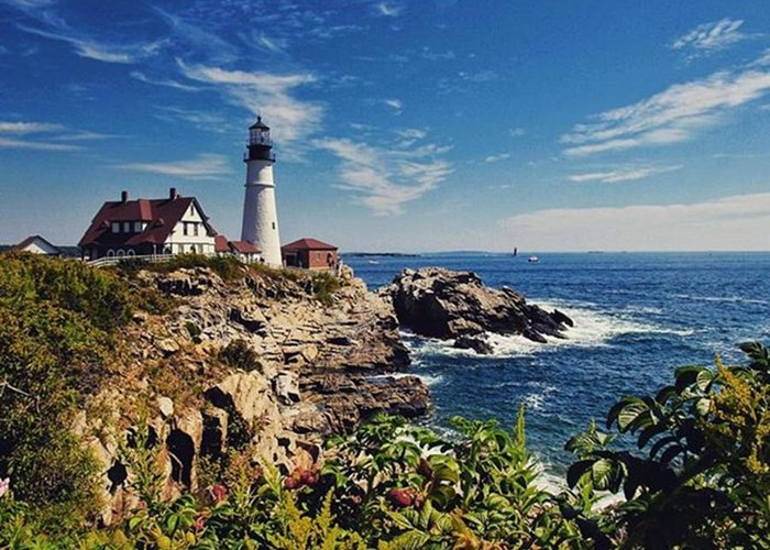 Mymaine Greeting Card featuring the photograph #portland #lighthouse #maine by Luisa Azzolini