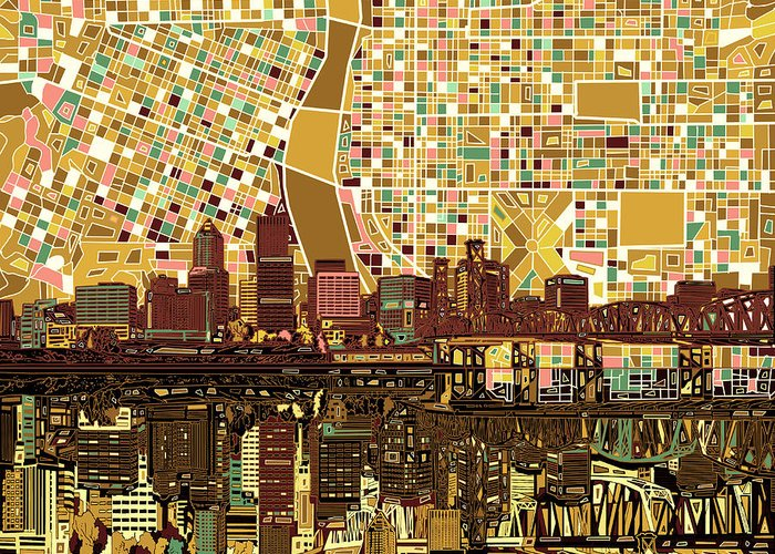 Portland Greeting Card featuring the painting Portland Skyline Abstract 9 by Bekim M
