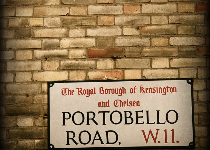 Portobello Road Greeting Card featuring the photograph Portobello Road Sign On A Grunge Brick Wall In London England by ELITE IMAGE photography By Chad McDermott