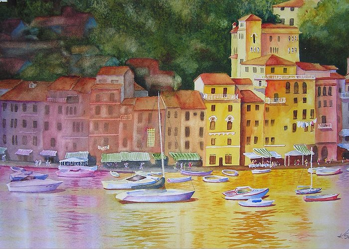 Italy Greeting Card featuring the painting Portofino Afternoon by Karen Stark