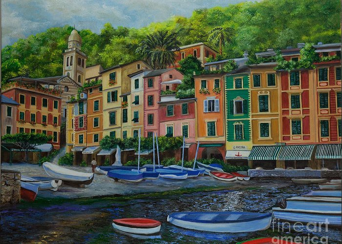 Portofino Italy Art Greeting Card featuring the painting Portofino Harbor by Charlotte Blanchard
