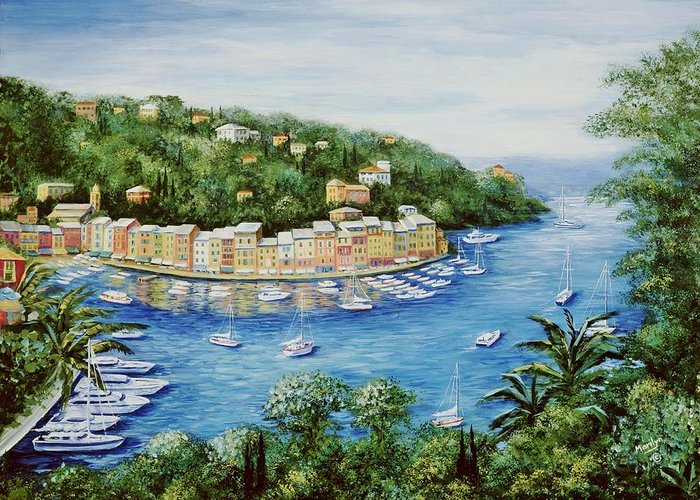European Greeting Card featuring the painting Portofino Majestic Panoramic View by Marilyn Dunlap