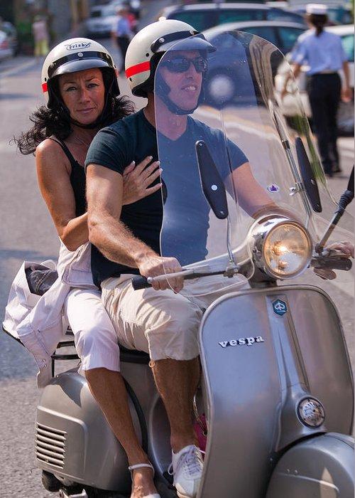 Portofino Greeting Card featuring the photograph Portofino Scooter Couple by Neil Buchan-Grant