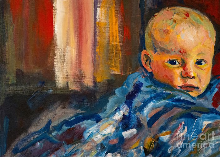 Baby Greeting Card featuring the painting Portrait for a Mother by Angelique Bowman