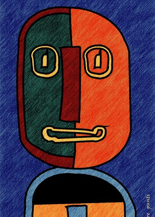 Pere Punti Digital Art Abstract Portrait Almonte Slam Lines Abstracto Retrato Lineas Abstracte Retrat Greeting Card featuring the digital art portrait in Almonte Slam with lines by Pere Punti