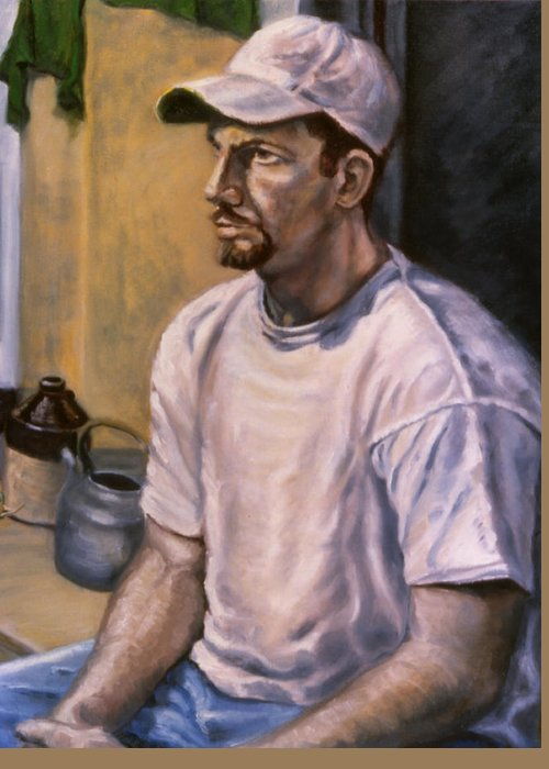 Man Greeting Card featuring the painting Portrait Mark by John Clum