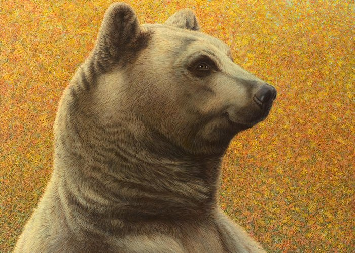 Bear Greeting Card featuring the painting Portrait Of A Bear by James W Johnson