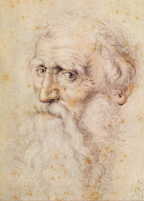 Albrecht Durer Or Duere Greeting Card featuring the drawing Portrait Of A Bearded Old Man by Albrecht Durer or Duerer