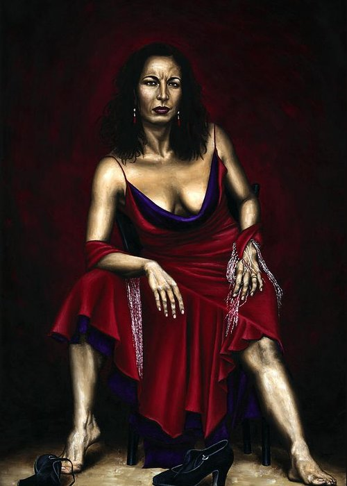 Portrait Greeting Card featuring the painting Portrait Of A Dancer by Richard Young