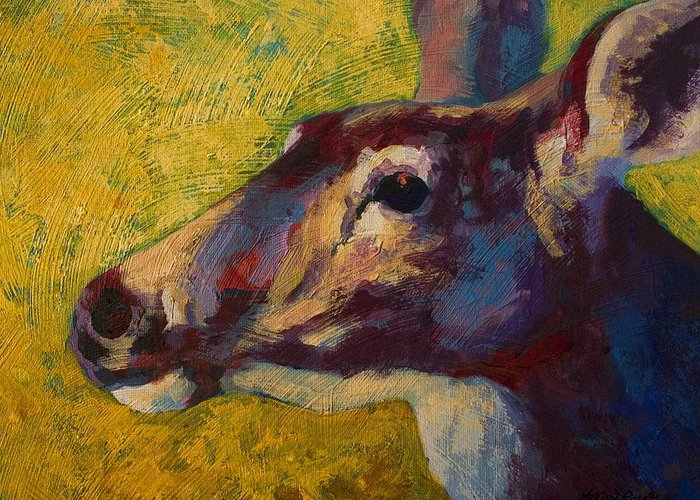 Deer Greeting Card featuring the painting Portrait Of A Doe by Marion Rose