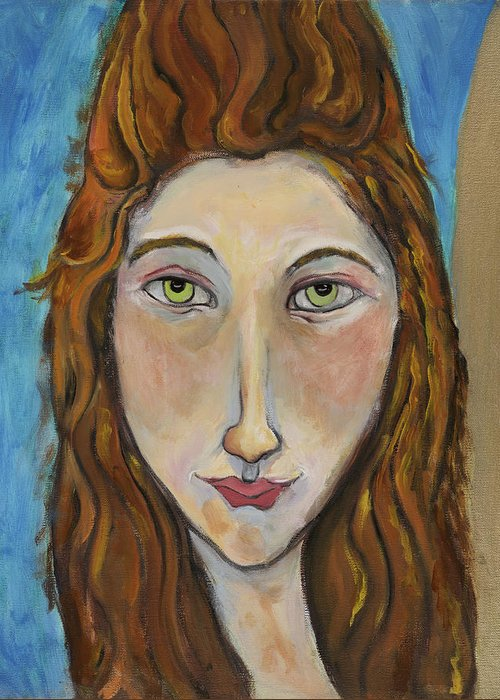 Portrait Greeting Card featuring the painting Portrait Of A Girl by Michelle Spiziri