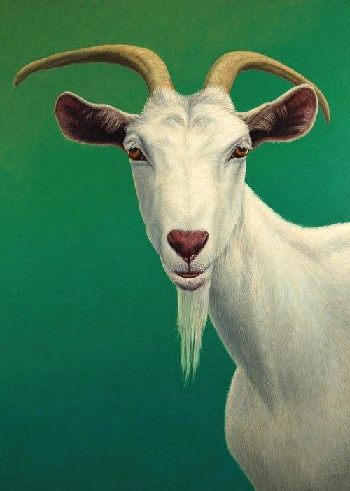 Goat Greeting Card featuring the painting Portrait Of A Goat by James W Johnson