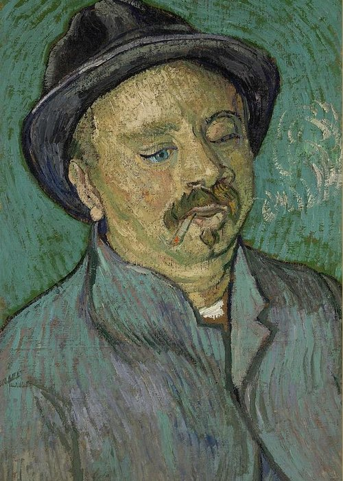 Man Greeting Card featuring the painting Portrait Of A One Eyed Man Saint Remy De Provence Autumn 1889 Vincent Van Gogh 1853 1890 by Artistic Panda