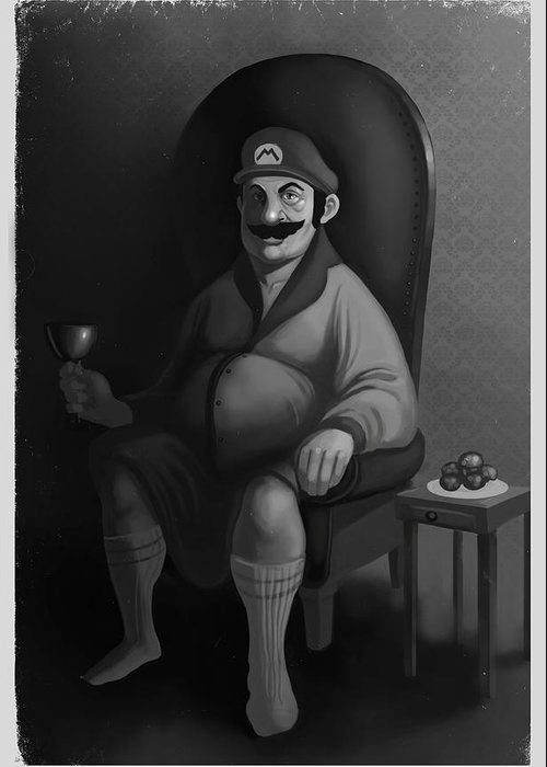 Mario Greeting Card featuring the digital art Portrait of a Plumber by Michael Myers
