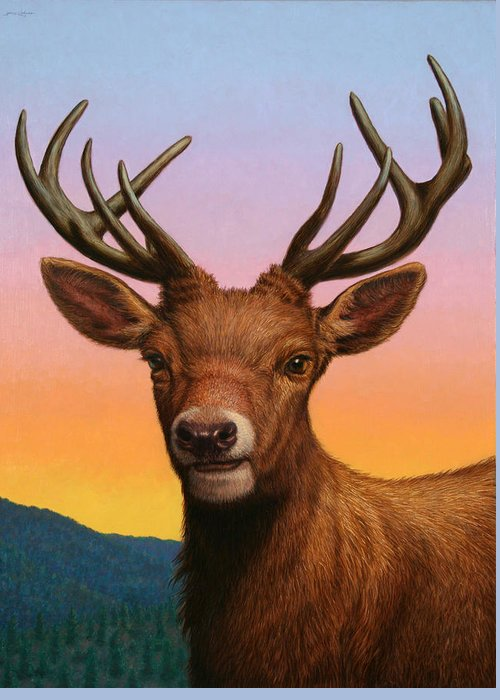 Deer Greeting Card featuring the painting Portrait Of A Red Deer by James W Johnson