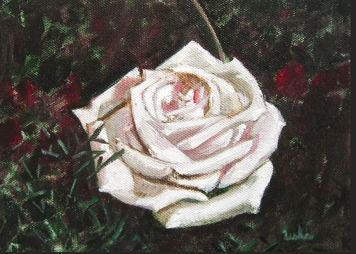 Portrait Greeting Card featuring the painting Portrait Of A Rose 3 by Usha Shantharam
