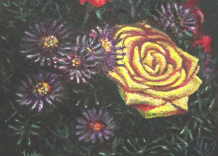 Yellow Greeting Card featuring the painting Portrait Of A Rose 7 by Usha Shantharam
