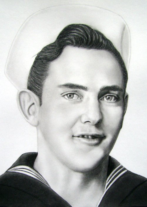 Portrait Greeting Card featuring the drawing Portrait Of A Sailor by Nicole I Hamilton