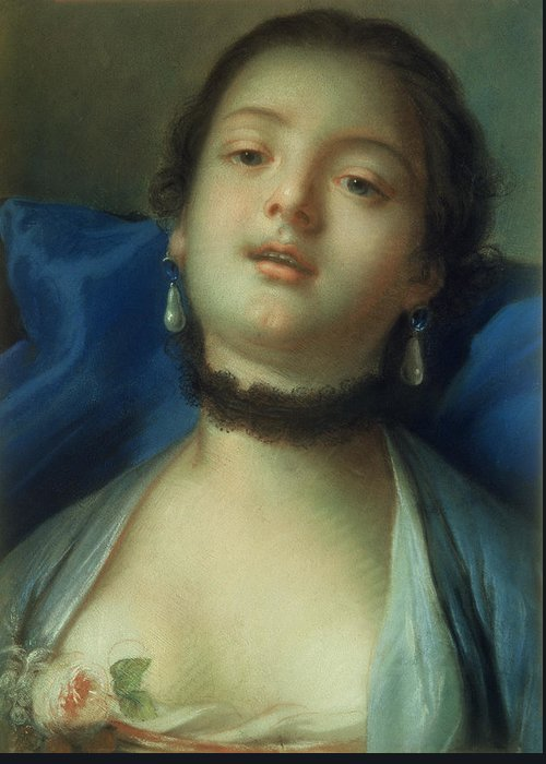 Portrait Greeting Card featuring the painting Portrait Of A Woman by Francois Boucher