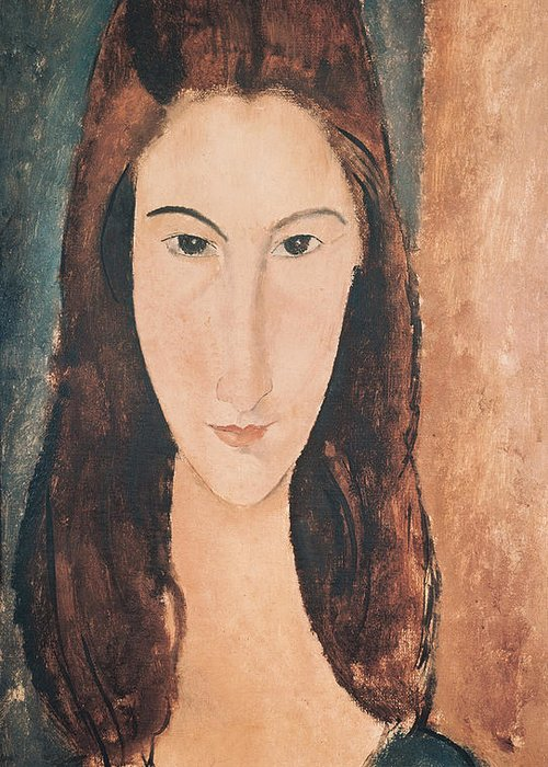 Portrait Greeting Card featuring the painting Portrait Of A Young Girl by Amedeo Modigliani
