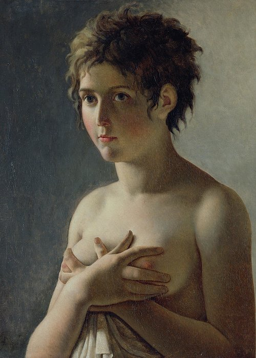 Bust; Breasts; Female; Semi-nude; Short Hair; Nude; Jeune Fille En Buste; Sensuality; Mystery Greeting Card featuring the painting Portrait Of A Young Girl by Baron Pierre Narcisse Guerin