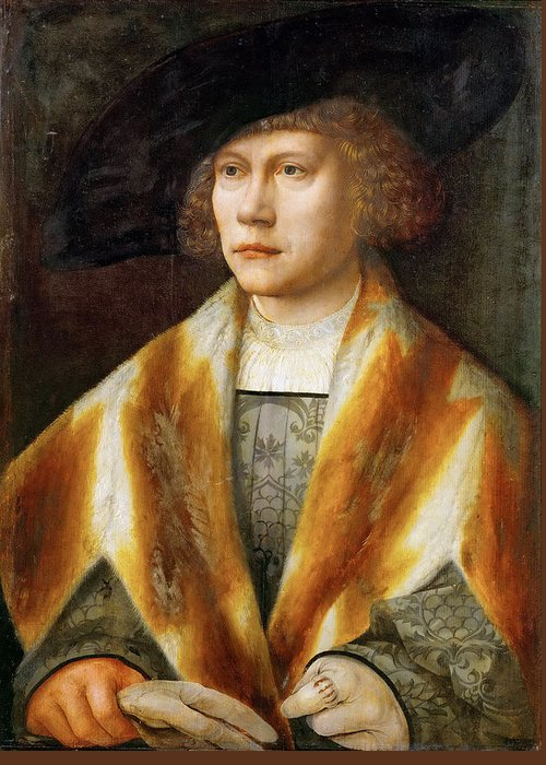 Bernard Van Orley Greeting Card featuring the painting Portrait Of A Young Man by Bernard van Orley