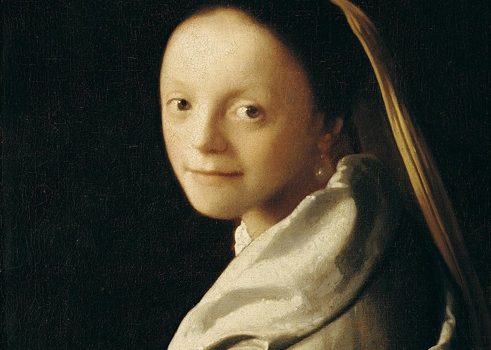 Vermeer Greeting Card featuring the painting Portrait Of A Young Woman by Jan Vermeer