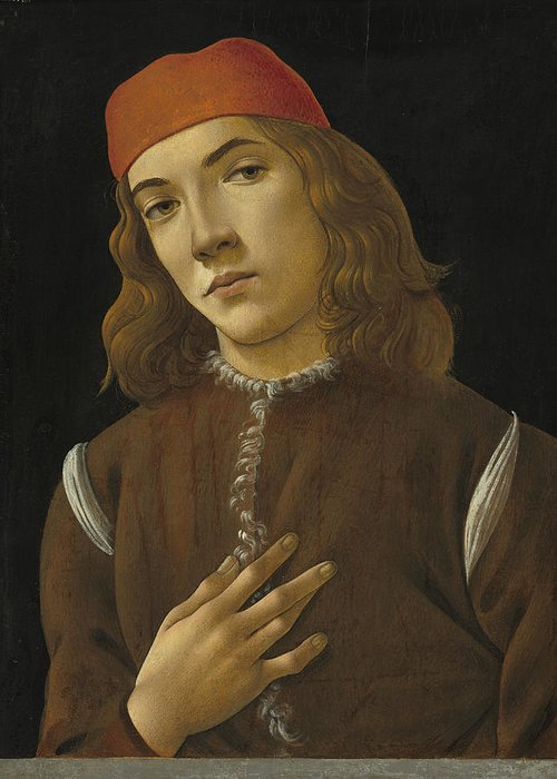 Sandro Botticelli Greeting Card featuring the painting Portrait Of A Youth by Sandro Botticelli