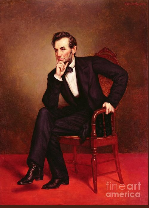 Portrait Of Abraham Lincoln (oil On Canvas) By George Peter Alexander Healy (1808-94) Greeting Card featuring the painting Portrait Of Abraham Lincoln by George Peter Alexander Healy
