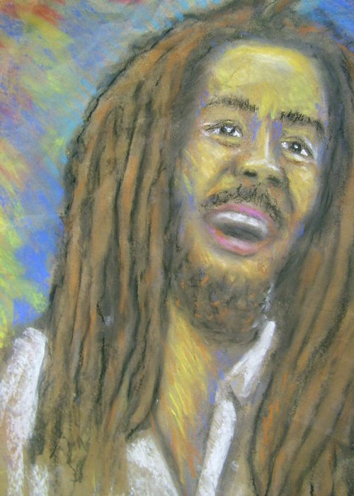 Drawing Greeting Card featuring the drawing Portrait Of Bob Marley by Jan Gilmore