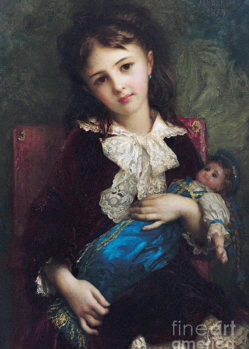 Portrait Greeting Card featuring the painting Portrait Of Catherine Du Bouchage by Antoine Auguste Ernest Hebert