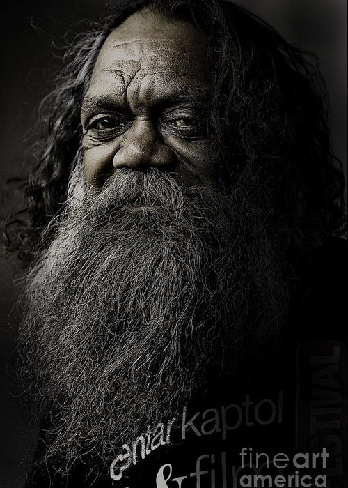 Aboriginal Greeting Card featuring the photograph Portrait Of Cedric by Avalon Fine Art Photography