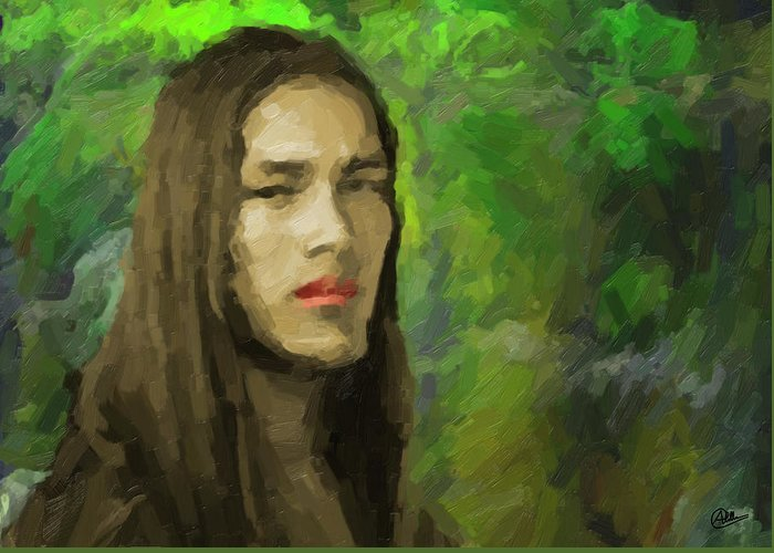 Portrait Greeting Card featuring the painting Portrait Of Enzo. by Joaquin Abella