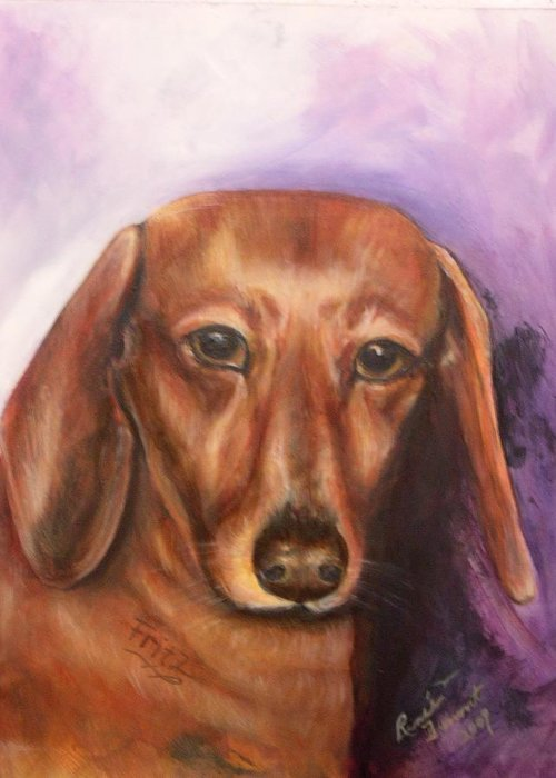 Pet Portrait Greeting Card featuring the painting Portrait Of Fritz - Commissions Accepted by Renee Dumont Museum Quality Oil Paintings Dumont