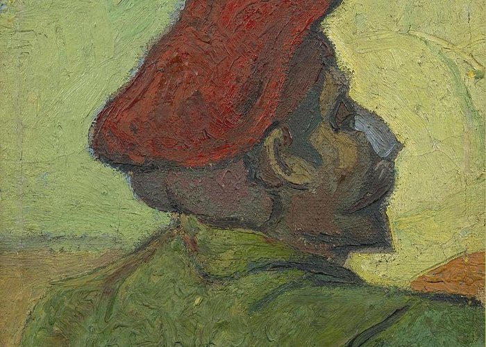 Man Greeting Card featuring the painting Portrait Of Gauguin Arles December 1888 Vincent Van Gogh 1853 1890 by Artistic Panda