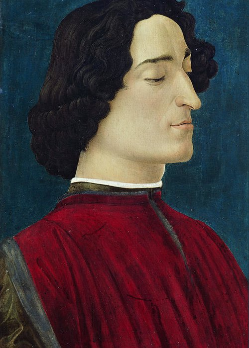 Sandro Botticelli Greeting Card featuring the painting Portrait Of Giuliano De' Medici by Sandro Botticelli