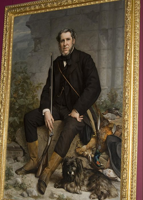 Distinguished Greeting Card featuring the painting Portrait Of John Bowes by Carl Purcell