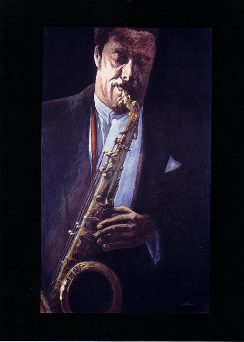 Portrait Greeting Card featuring the painting Portrait Of Johnny Griffin by James LeGros