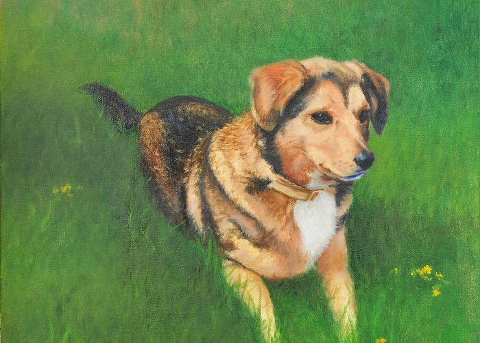 Dog Greeting Card featuring the painting Portrait Of Kecia by Phyllis Tarlow