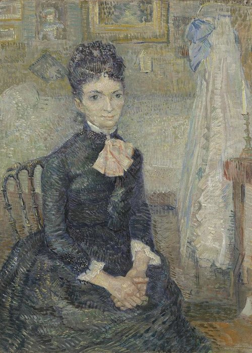 Beautiful Greeting Card featuring the painting Portrait Of Leonie Rose Charbuy-davy Paris March April 1887 Vincent Van Gogh 1853 1890 by Artistic Panda