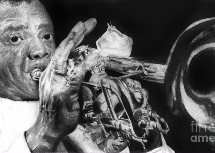 Jazz Portrait Greeting Card featuring the drawing Portrait Of Louie Armstrong by Carrie Jackson