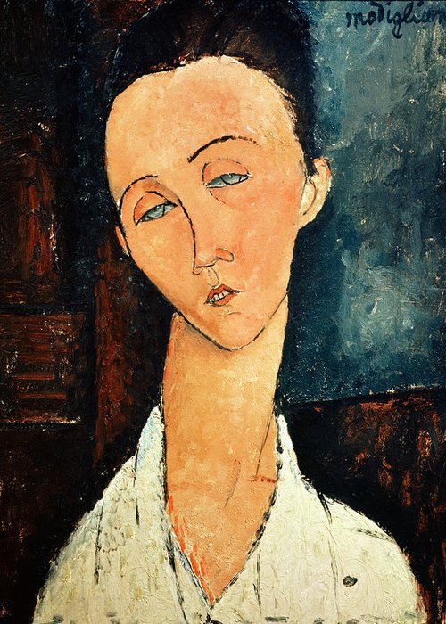 Portrait Greeting Card featuring the painting Portrait Of Lunia Czechowska by Amedeo Modigliani