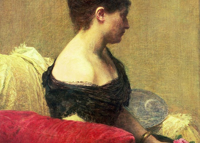 Portrait Of Madame Maitre (oil On Canvas) By Ignace Henri Jean Fantin-latour (1836-1904) Greeting Card featuring the painting Portrait Of Madame Maitre by Ignace Henri Jean Fantin Latour