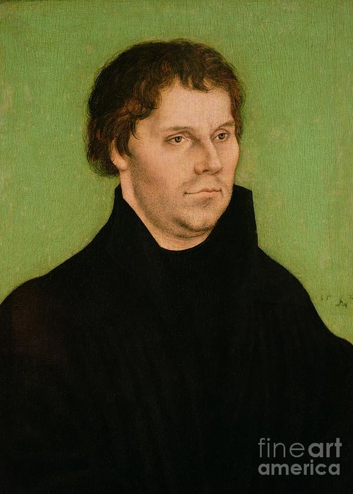 Portrait Greeting Card featuring the painting Portrait Of Martin Luther by Lucas Cranach the Elder